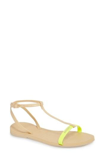 Women's Havaianas You Belize T-strap Sandal /36 Br - Yellow