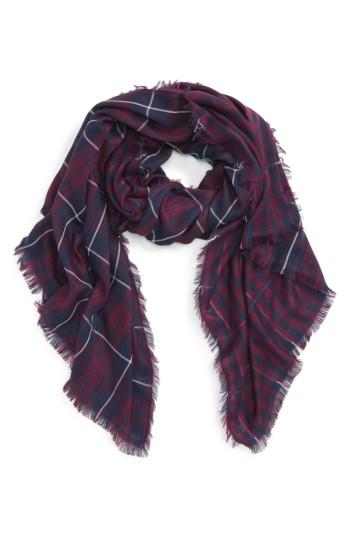 Women's David & Young Plaid Oblong Scarf, Size - Blue