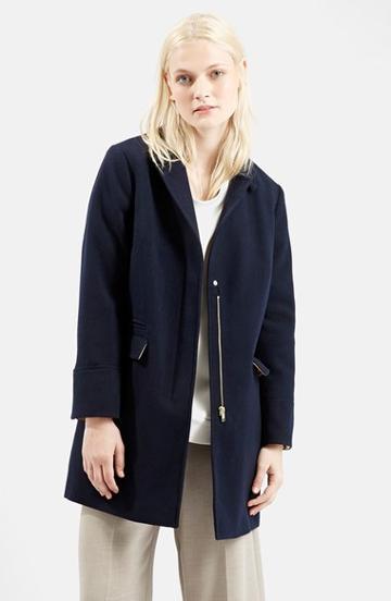 Women's Topshop 'mia' Crombie Coat (nordstrom