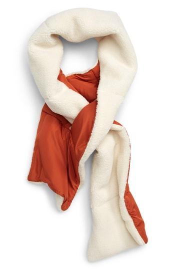 Women's Bp. Reversible Faux Shearling & Puffer Scarf, Size - Brown