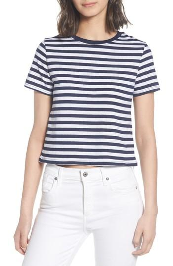 Women's Topshop Crop Stripe Tee Us (fits Like 2-4) - Blue