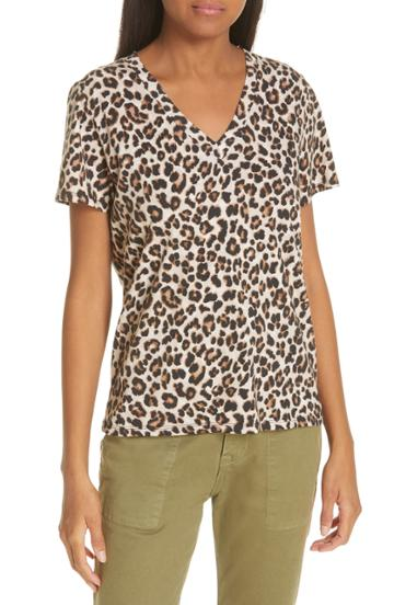 Women's Veronica Beard Saniya Leopard Print Tee - Brown