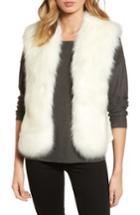 Women's Love Token Faux Fur Knit Vest - Ivory