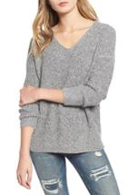 Women's Dreamers By Debut Marled V-neck Sweater - Grey