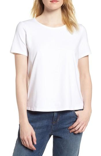 Petite Women's Eileen Fisher Crewneck Tee, Size P - Ivory