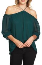 Women's 1.state Off The Shoulder Sheer Chiffon Blouse - Green