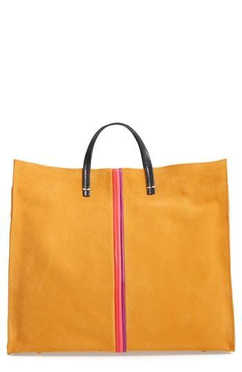 Clare V. Simple Stripe Nubuck Tote - Yellow