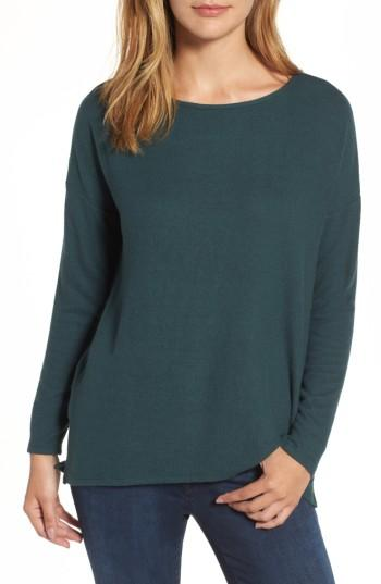 Petite Women's Gibson Cozy Fleece Ballet Neck High/low Pullover, Size P - Green