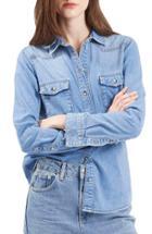 Women's Topshop Denim Western Shirt Us (fits Like 0) - Blue