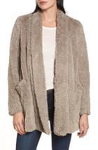 Women's Kenneth Cole New York 'teddy Bear' Faux Fur Clutch Coat - Beige