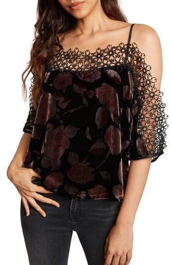 Women's Willow & Clay Velvet Cold Shoulder Top, Size - Black