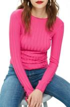 Women's Topshop Popper Crew Sweater Us (fits Like 0) - Pink