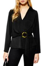 Women's Topshop Horn Buckle Collar Blouse Us (fits Like 0) - Black