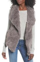 Women's Love Token Faux Fur Vest - Grey