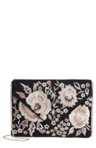 Violet Ray New York Vanessa Floral Embroidered Crossbody Bag - Black