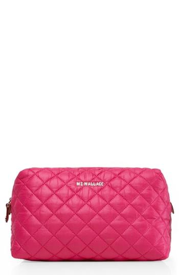 Mz Wallace Mica Quilted Nylon Cosmetics Case, Size - Dragon Fruit