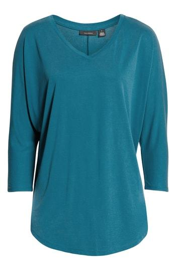 Petite Women's Halogen Relaxed V-neck Top, Size P - Blue/green