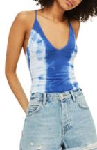 Women's Topshop Tie Dye Bodysuit Us (fits Like 0) - Blue