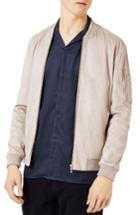 Men's Topman Faux Suede Bomber Jacket - Grey