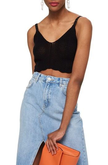 Women's Topshop Scallop Edge Bralette Us (fits Like 0) - Black