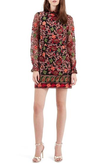 Women's Topshop Embroidered Frill Dress, Size 6 Us (fits Like