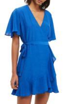Women's Topshop Ruffle Wrap Dress Us (fits Like 0) - Blue