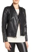 Women's Guess Faux Leather Moto Jacket - Black