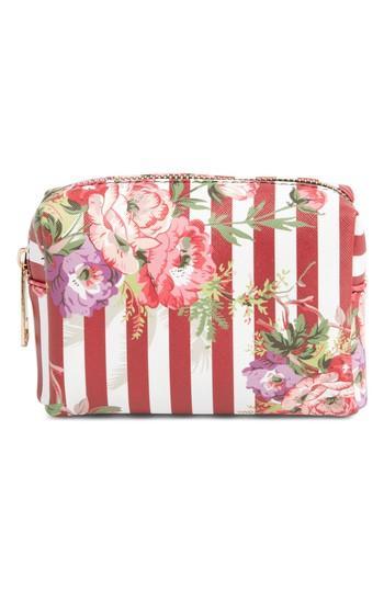 Yoki Bags Stripe Floral Cosmetics Bag, Size - Red