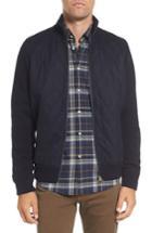 Men's Barbour Culzean Quilt Front Wool Sweater Jacket, Size - Blue