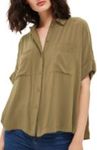 Women's Topshop Joey Shirt Us (fits Like 2-4) - Green