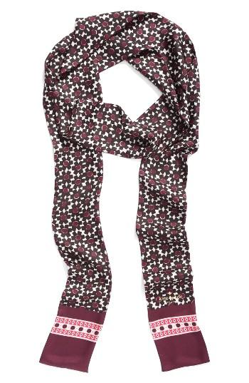 Women's Kate Spade New York Floral Tile Silk Skinny Scarf