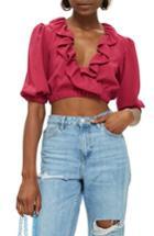 Women's Topshop Ruffle Crop Top Us (fits Like 0) - Pink