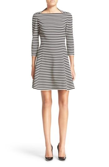 Women's Kate Spade New York Stripe Fit & Flare Dress, Size - Ivory