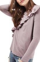 Women's Topshop Long Sleeve Ruffle Tee