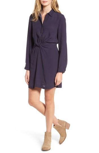 Women's Lush Twisted Shirtdress - Blue