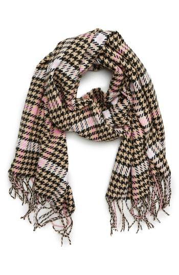 Women's David & Young Houndstooth Scarf, Size - Beige