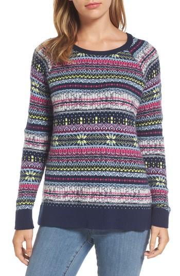 Petite Women's Caslon Tie Back Patterned Sweater P - Blue