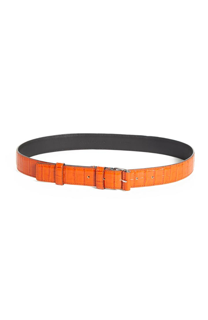 Women's Altuzarra Croc Embossed Leather Belt - Electric Orange