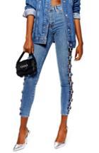 Women's Topshop Jamie Side Buckle Jeans W X 32l (fits Like 28-29w) - Blue