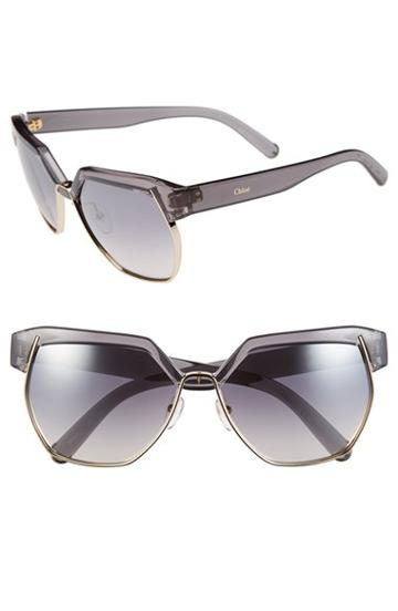 Women's Chloe 'dafne - Clubmaster' 60mm Gradient Sunglasses -