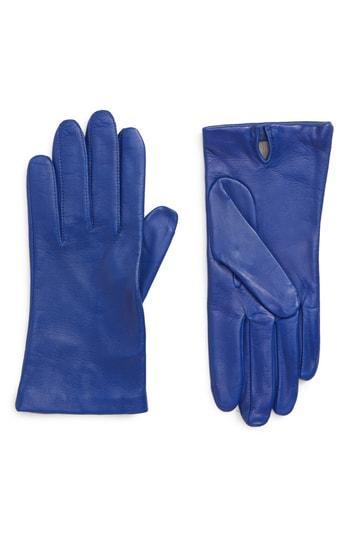 Women's Nordstrom Lambskin Leather Gloves - Blue