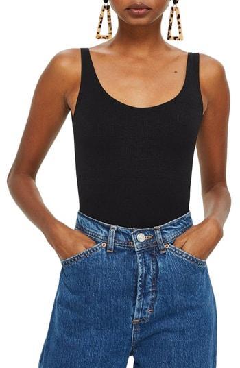 Women's Topshop Textured Scoop Neck Bodysuit Us (fits Like 0-2) - Black