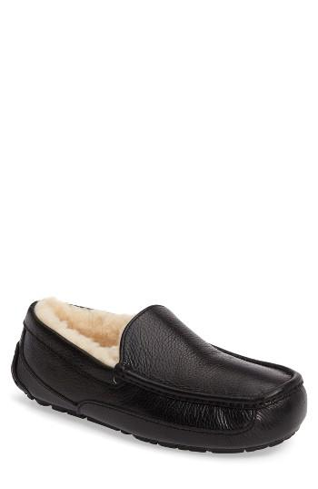 Men's Ugg Ascot Leather Slipper M - Black