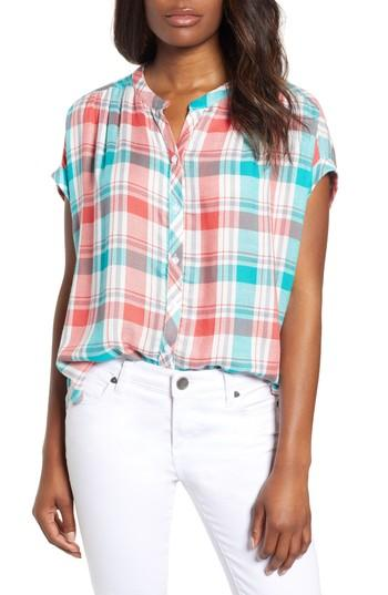 Petite Women's Caslon Woven Check Shirt, Size P - Green