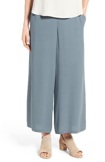 Petite Women's Eileen Fisher Silk Georgette Wide Leg Crop Pants P - Blue