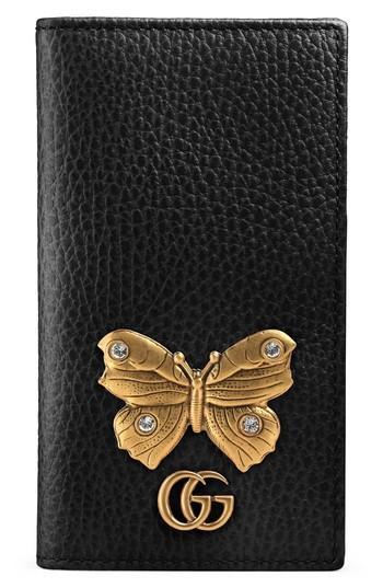Gucci Farfalla Leather Iphone 7 Case - Black