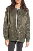 Women's Blanknyc Long Nylon Bomber Jacket - Green