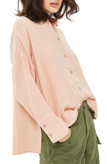 Women's Topshop Crinkle Shirt Us (fits Like 2-4) - Coral