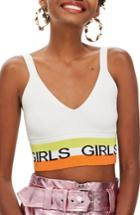 Women's Topshop Girls Slogan Bralette Us (fits Like 0) - Ivory