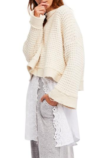 Women's Free People Maybe Baby Bell Sleeve Sweater, Size - Ivory